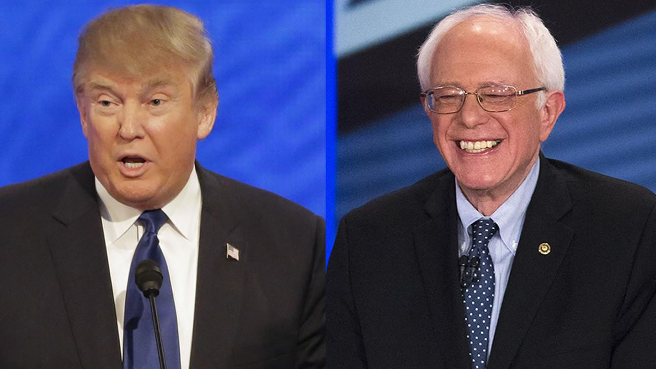 Republican Donald Trump, left, and Democrat Bernie Sanders, right, win New Hampshires presidential primaries on Tuesday, February 9, 2016.
