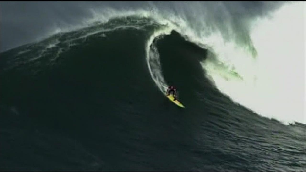 This undated image shows a surfer riding the waves at Mavericks in Half Moon Bay, Calif.