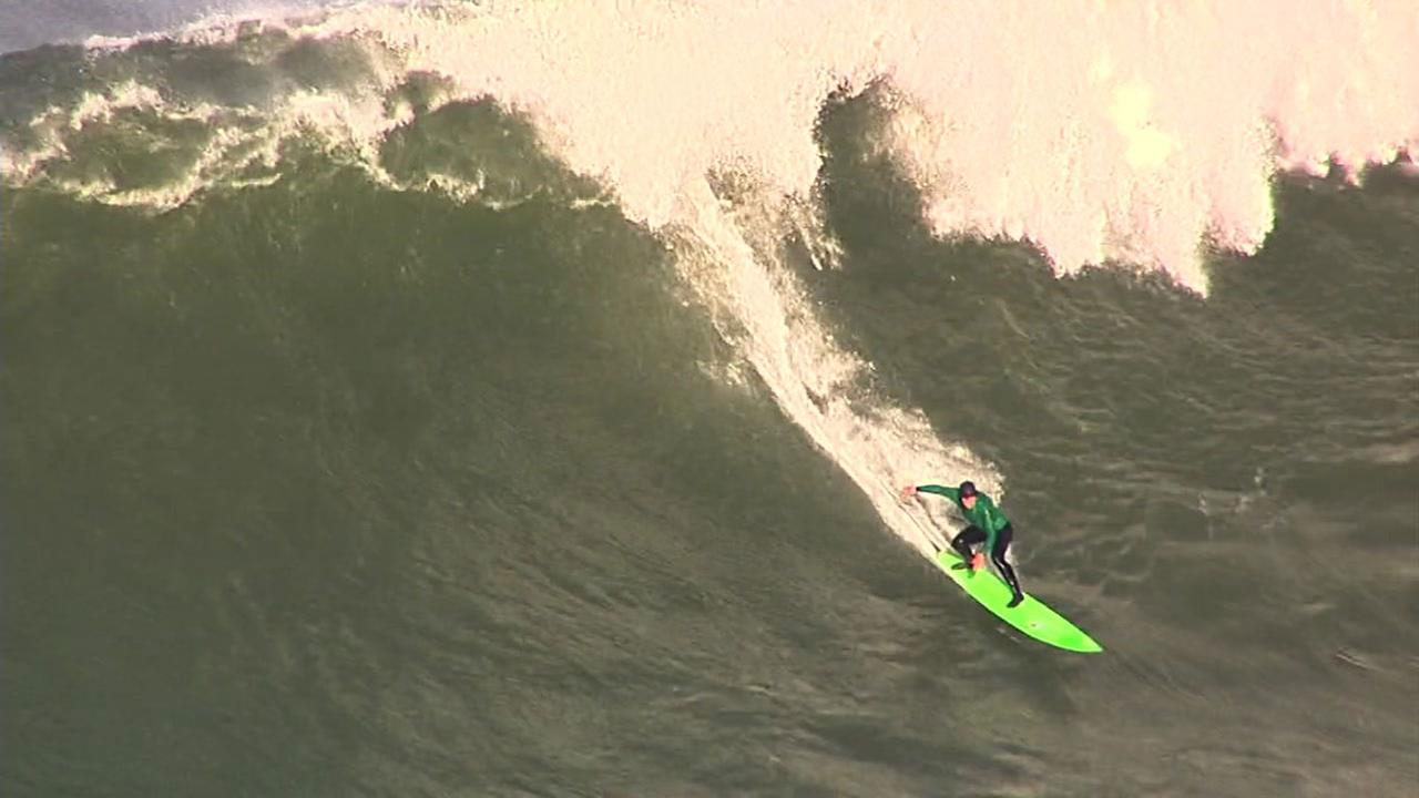 Surfer at Mavericks surf competition off the coast of Half Moon Bay, Friday, February 12, 2016.KGO-TV