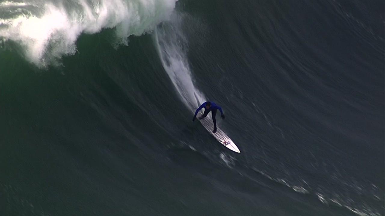 Surfer at Titans of Mavericks surf competition off coast of Half Moon Bay, California, Friday, February 12, 2016.KGO-TV