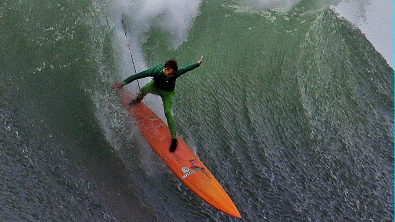 Nic Lamb surfs a giant wave during the finals of the Mavericks surfing contest Friday, Feb. 12, 2016, in Half Moon Bay, Calif. Lamb won the event. AP Photo/Ben Margot