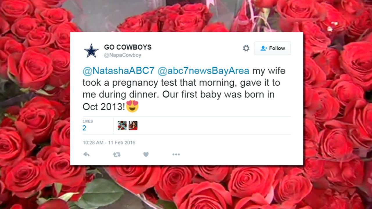 This image shows a tweet from ABC7 News viewer @NapaCowboy who responded to a question about the best gift vere received on Valentines Day.