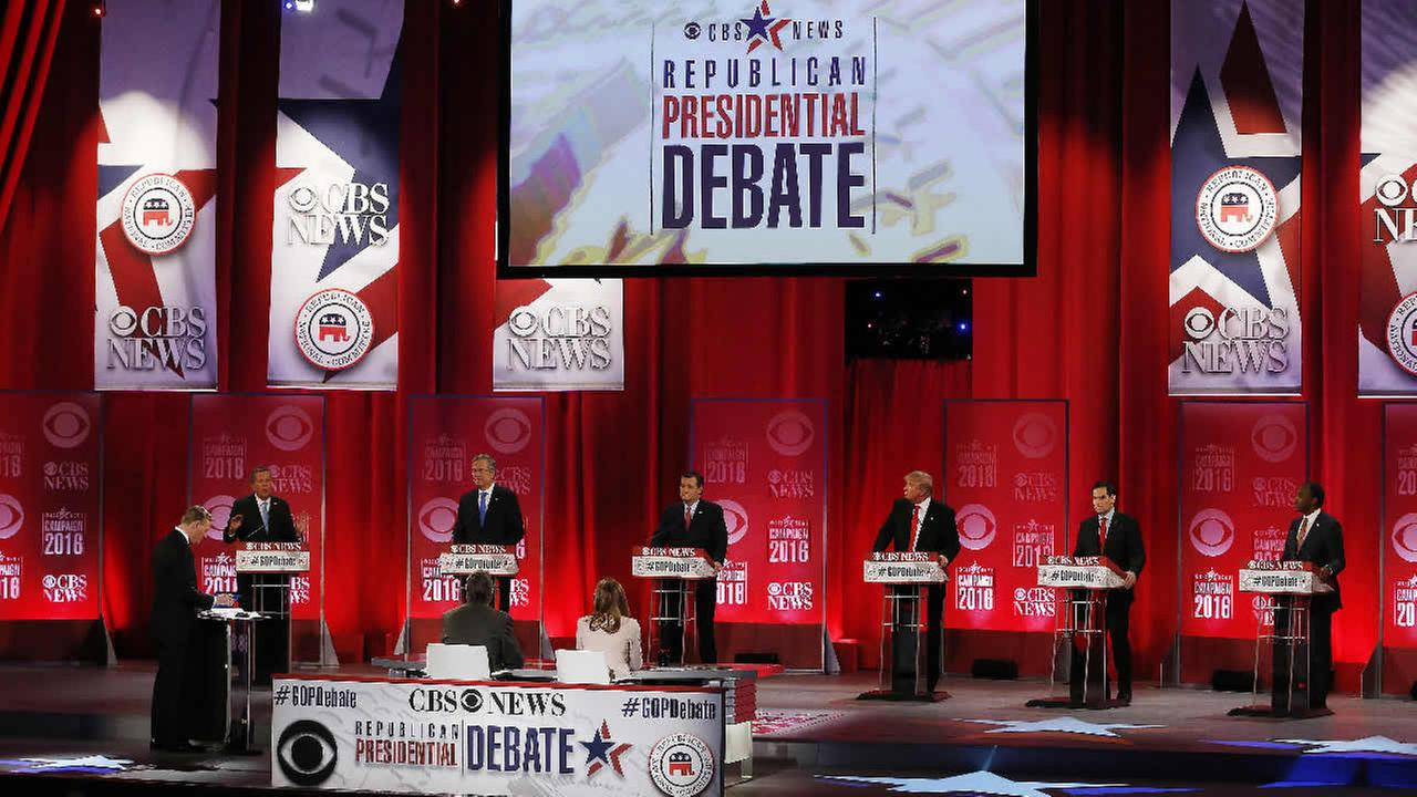 Republican presidential candidates participate during the CBS News Republican presidential debate at the Peace Center, Saturday, Feb. 13, 2016, in Greenville, S.C.