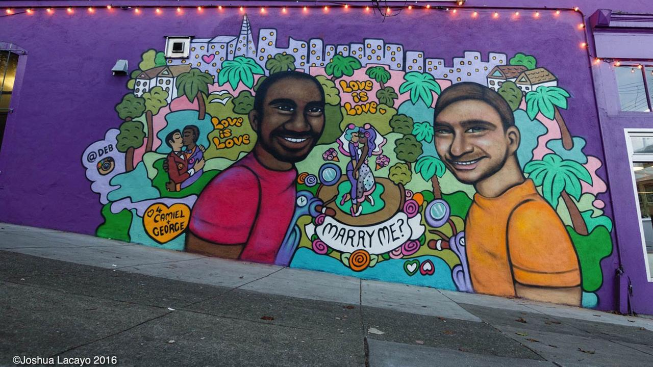A special proposal happened with a mural on 18th Street at the Kasa Indian Eatery in San Francisco Feb. 14, 2016.
