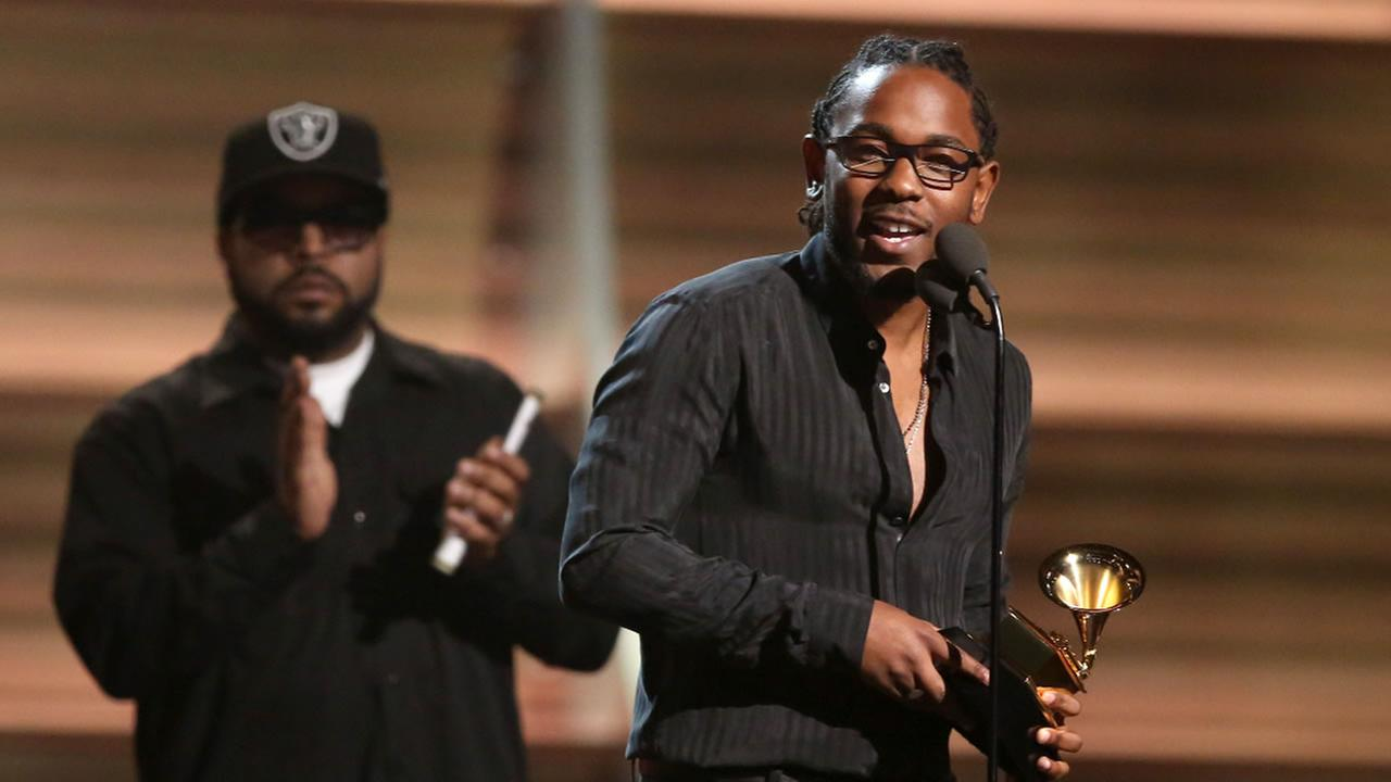Kendrick Lamar accepts the award for best rap album for To Pimp A Butterfly at the 58th annual Grammy Awards on Monday, Feb. 15, 2016, in Los Angeles.