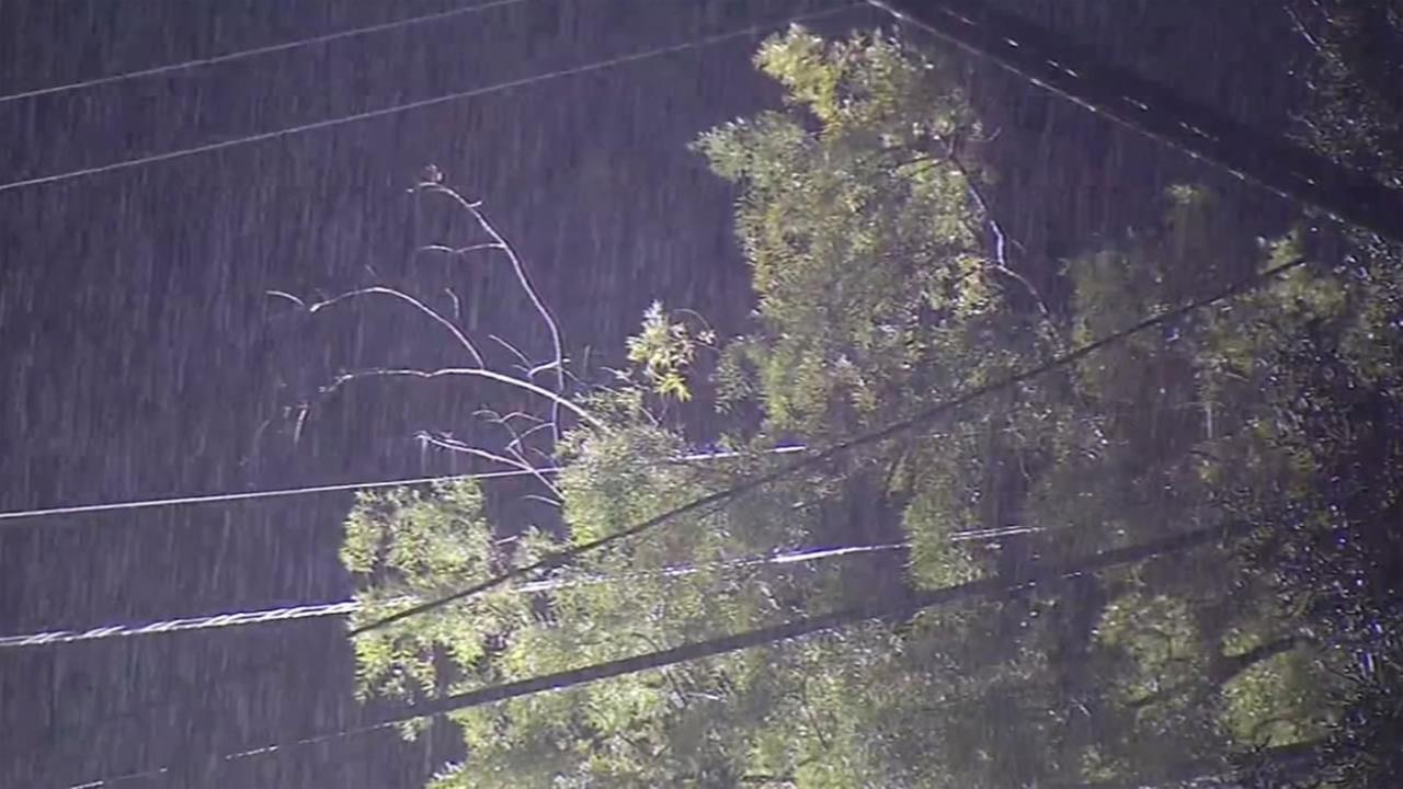 Heavy rain falls in Cupertino, Calif. on Thursday, February 18, 2016.KGO-TV