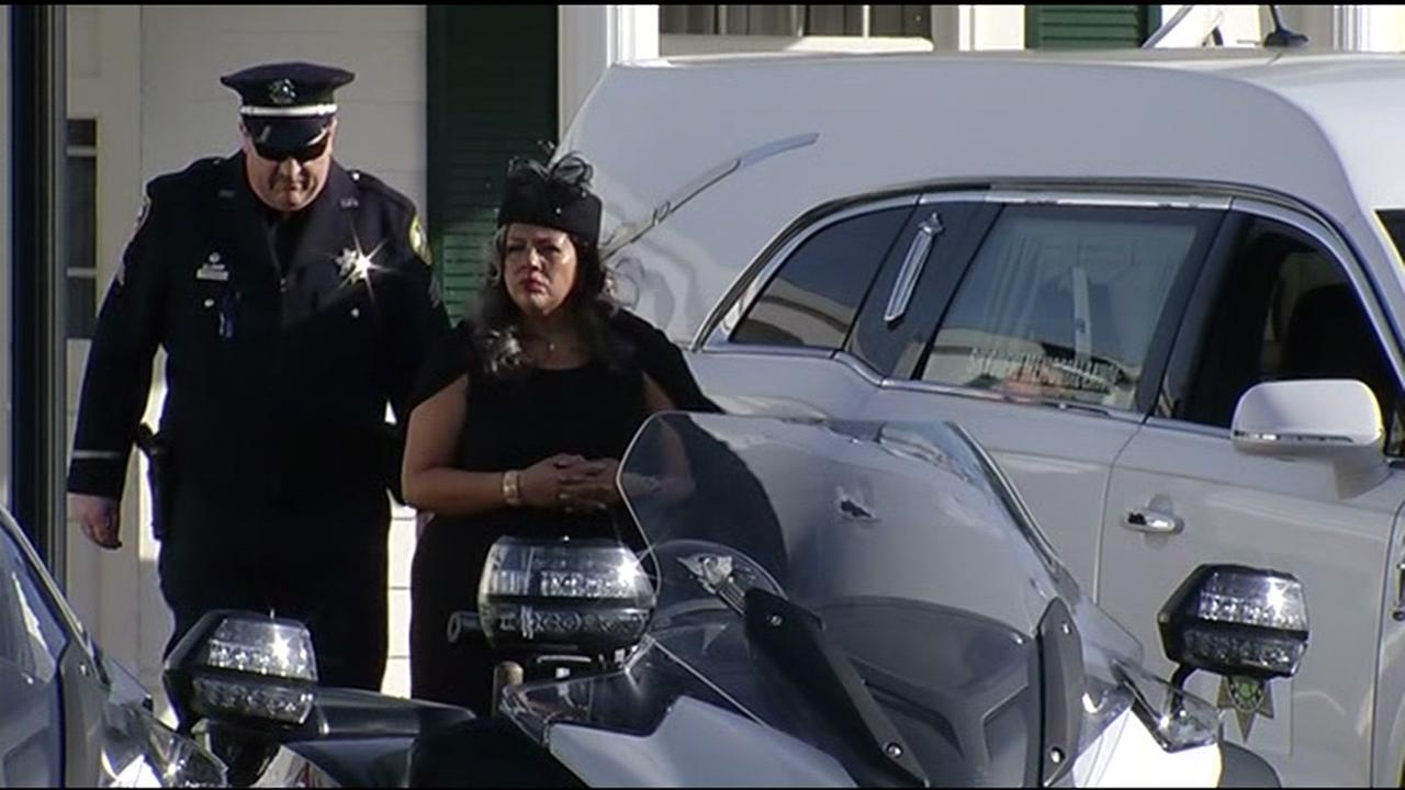 Officer Gus Vegas wife, Sandra, is seen ahead of a public memorial for her husband at Skyview Memorial Lawn in Vallejo, Calif. on Friday, February 19, 2016.KGO-TV