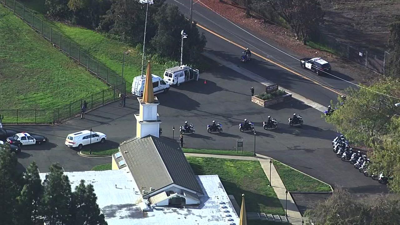 The procession to Richmond Police Department Officer Gus Vegas public memorial begins at Skyview Memorial Lawn in Vallejo, Calif. on Friday, February 19, 2016.KGO-TV