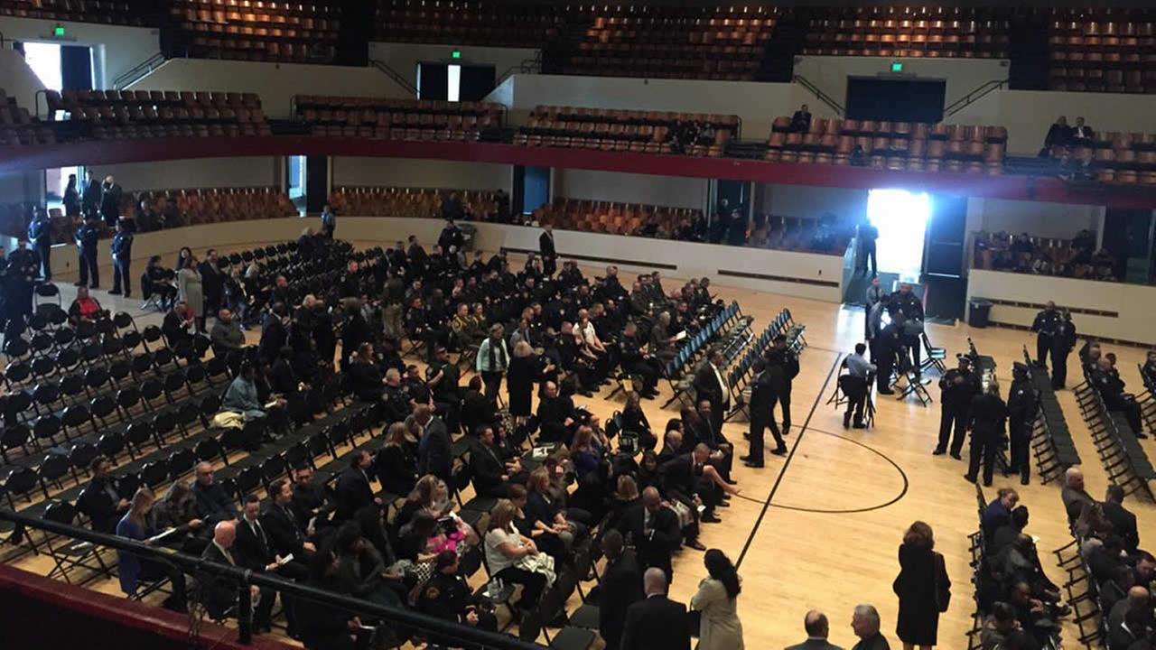 Police start to fill the Richmond Memorial Auditorium ahead of Officer Gus Vegas public memorial in Richmond, Calif. on Friday, February 19, 2016.KGO-TV/Melanie Woodrow