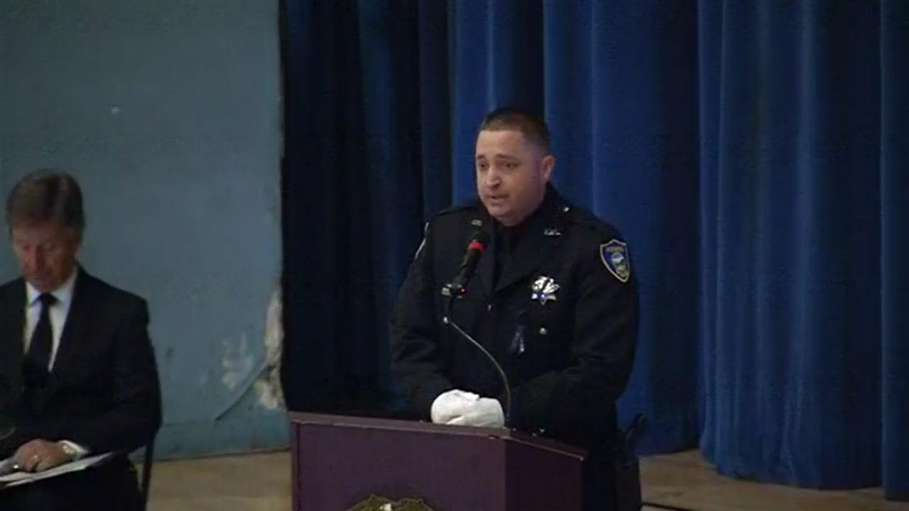 Richmond Officer Tom Peterson led a prayer at a public memorial service for Officer Gus Vegas in Richmond, Calif. on Friday, February 19, 2016.