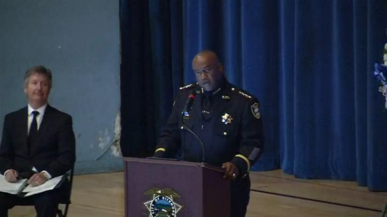 Richmond Police Chief Allwyn Brown spoke at a public memorial service for Officer Gus Vegas in Richmond, Calif. on Friday, February 19, 2016.
