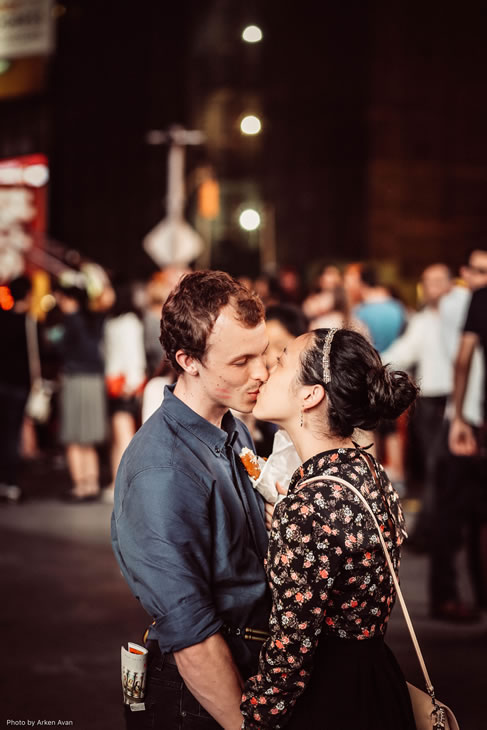 <div class='meta'><div class='origin-logo' data-origin='none'></div><span class='caption-text' data-credit='Instagram/NewYorkFaces'>Griffin Madden and Saya Tomioka share a kiss in Times Square in New York on June 5, 2015.</span></div>