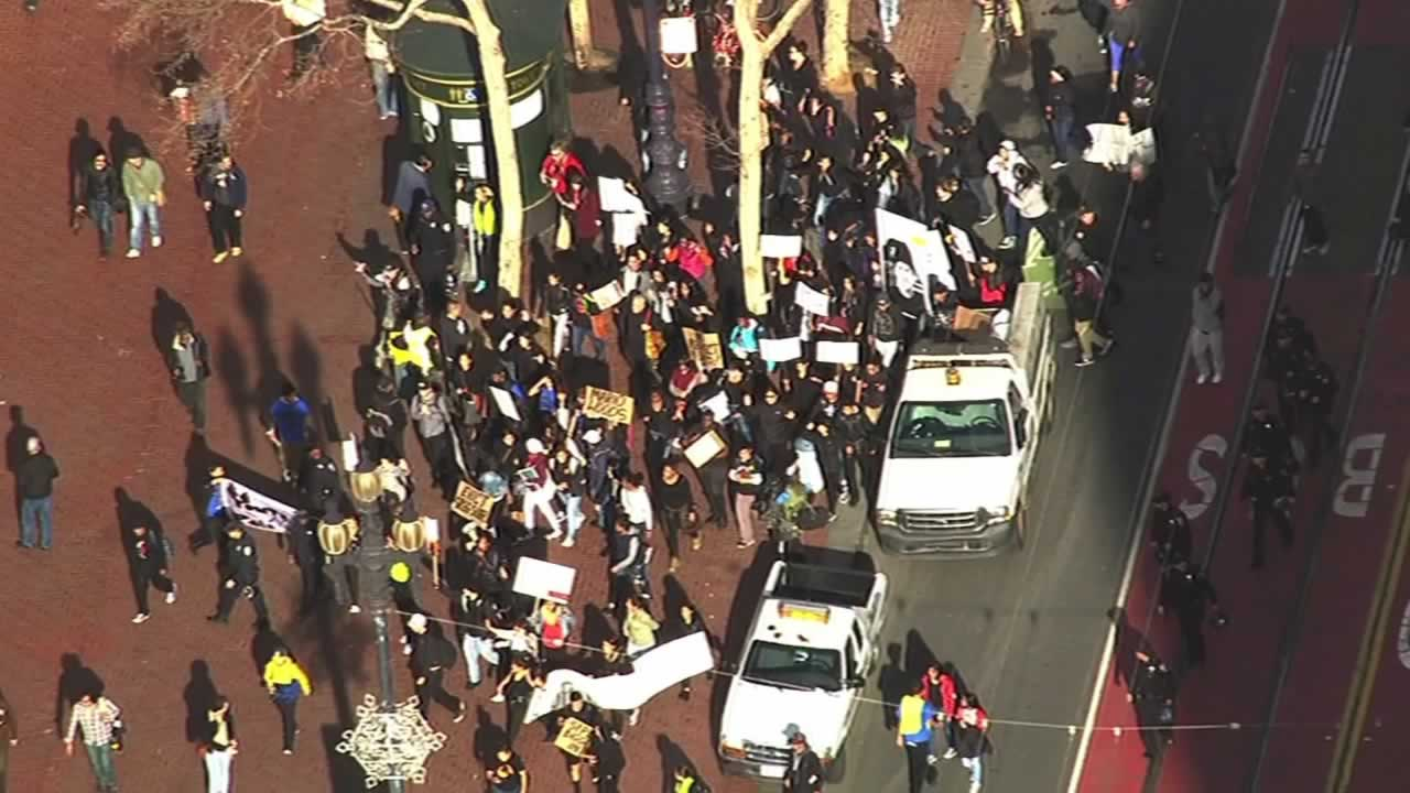 <div class='meta'><div class='origin-logo' data-origin='none'></div><span class='caption-text' data-credit='KGO-TV'>Demonstrators protesting the  shooting death of Mario Woods by multiple officers marched through downtown San Francisco on Friday, December 11, 2015.</span></div>