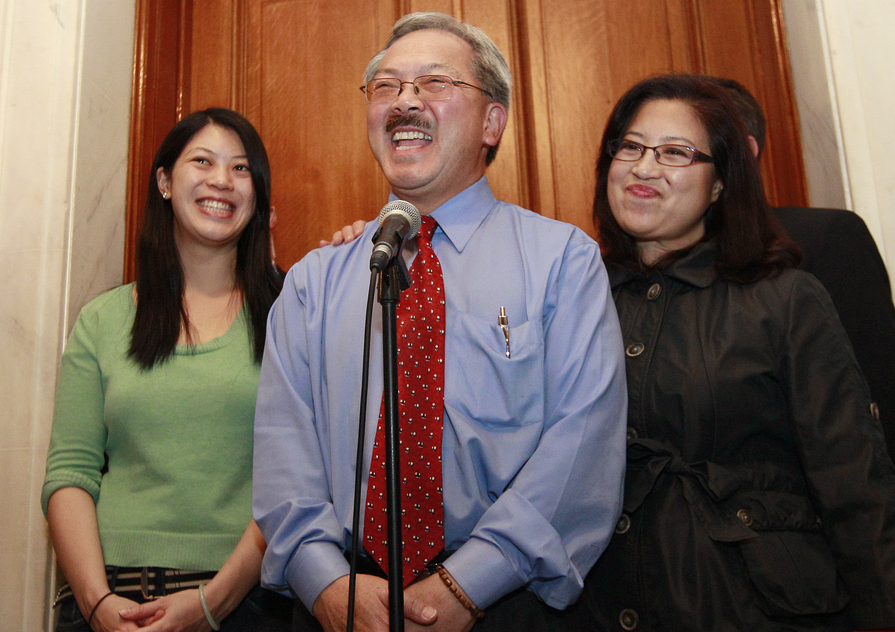 <div class='meta'><div class='origin-logo' data-origin='none'></div><span class='caption-text' data-credit='Jeff Chiu/AP Photo'>Mayor Ed Lee, center, speaks at a news conference next to his wife Anita, right, and his daughter Brianna outside of his office at City Hall, Wednesday, Nov. 9, 2011.</span></div>