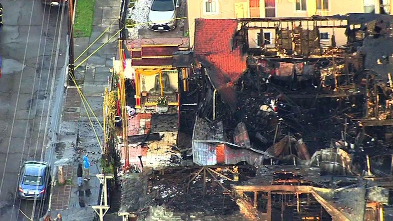 Fire at Buddhist temple in Oakland, Tuesday, February 23, 2016.