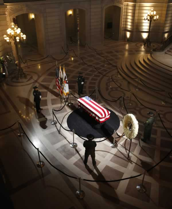 <div class='meta'><div class='origin-logo' data-origin='none'></div><span class='caption-text' data-credit='Michael Macor / The San Francisco Chronicle'>The casket holding the body of late San Francisco Mayor Ed Lee is on display at City Hall on Friday, Dec. 15, 2017.</span></div>