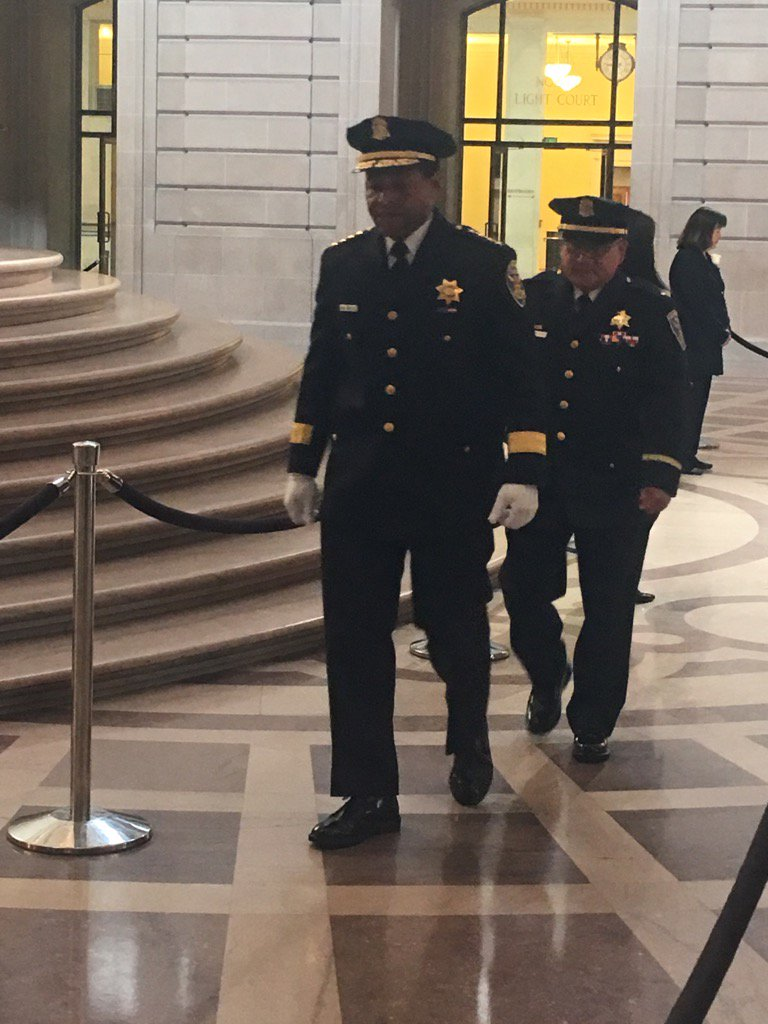 <div class='meta'><div class='origin-logo' data-origin='none'></div><span class='caption-text' data-credit='KGO-TV'>San Francisco Police Chief William Scott is seen during a public viewing for Mayor Ed Lee at City Hall on Friday, December 15, 2017.</span></div>