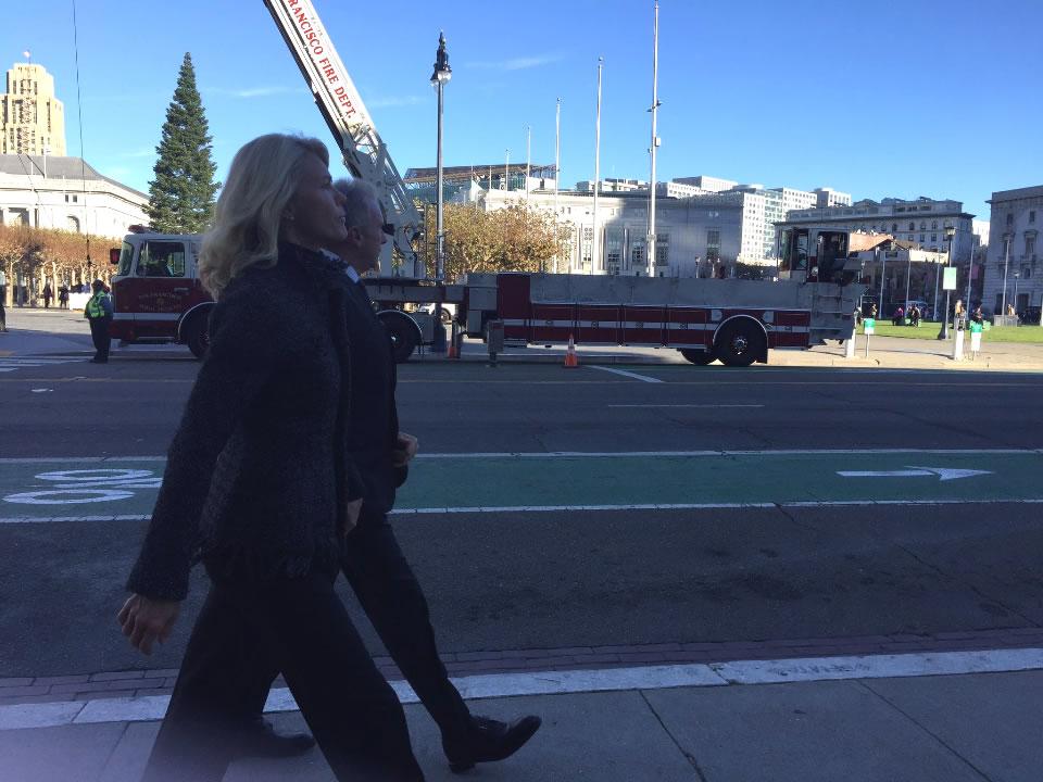 <div class='meta'><div class='origin-logo' data-origin='none'></div><span class='caption-text' data-credit='Elissa HarringtonKGO-TV'>Former San Francisco 49ers star Joe Montana and his wife are seen ahead of Mayor Ed Lee's memorial service on Sunday, Dec. 17, 2017.</span></div>