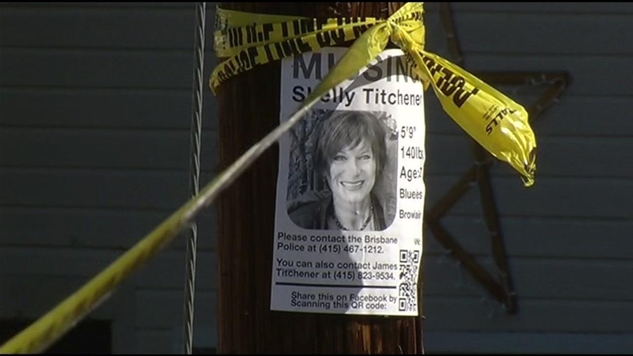 A missing person sign for 57-year-old Shelly Titchener is seen in Brisbane, Calif. on Wednesday, February 24, 2016.