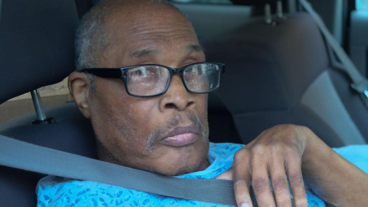Newly exonerated Luther Jones is shown leaving a hospital in St. Helena, Calif. Feb. 24, 2016.