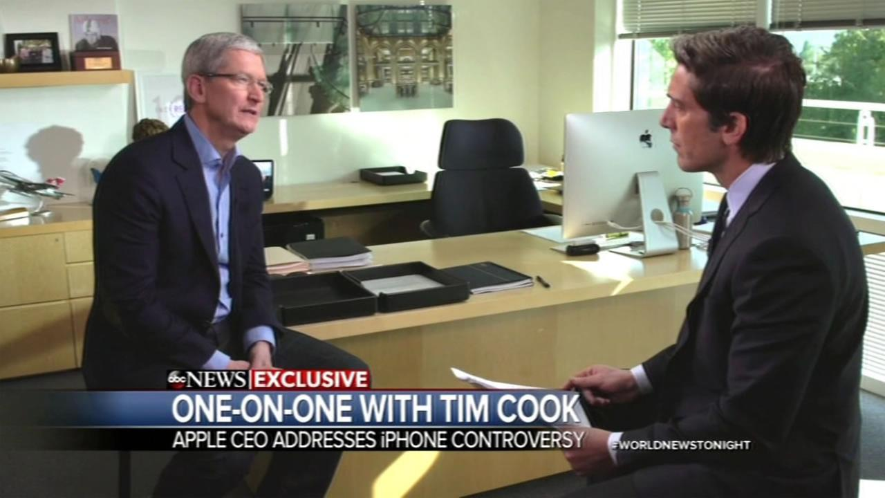 ABC News David Muir spoke to Apple CEO Tim Cook in an exclusive one-on-one interview.