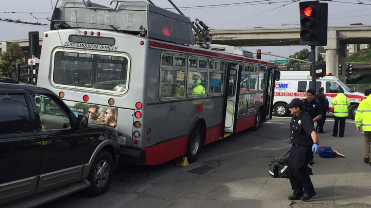 A Muni bus and a vehicle collided in San Francisco on Friday, February 26, 2016.