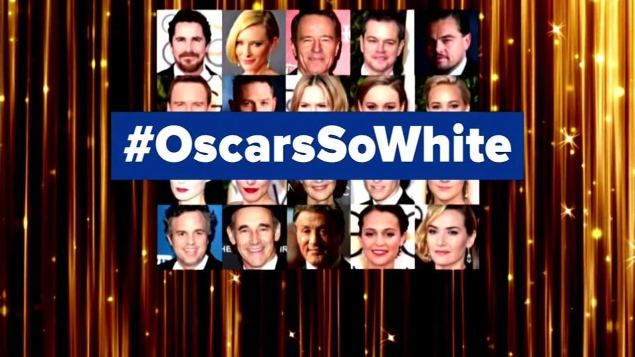 This undated image shows an #OscarsSoWhite hashtag.