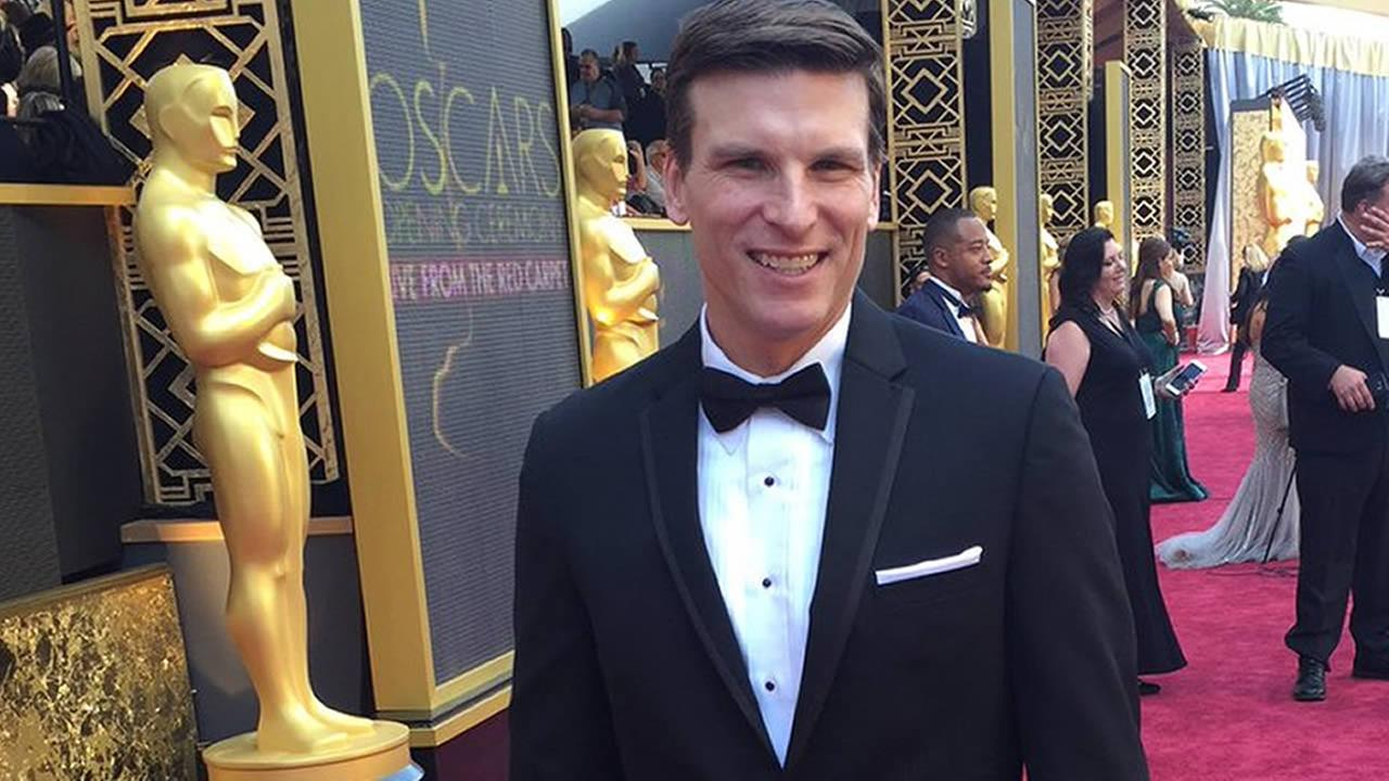 ABC7 News reporter Matt Keller at the Dolby Theatre for the Oscars in Los Angeles on Sunday, February 28, 2016.