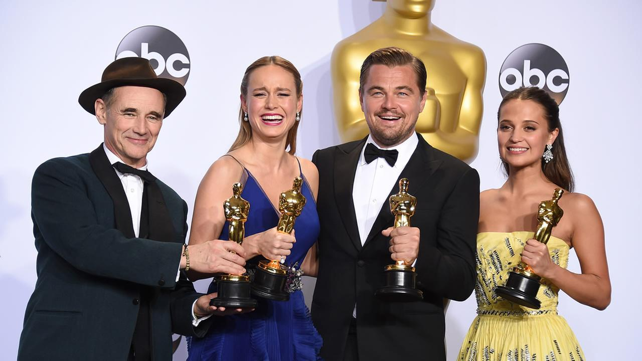 Mark Rylance, Brie Larson, Leonardo DiCaprio and Alicia Vikander, winners of best acting roles, pose in the press room at the Oscars on Sunday, Feb. 28, 2016, at the Dolby Theatre in Los Angeles.