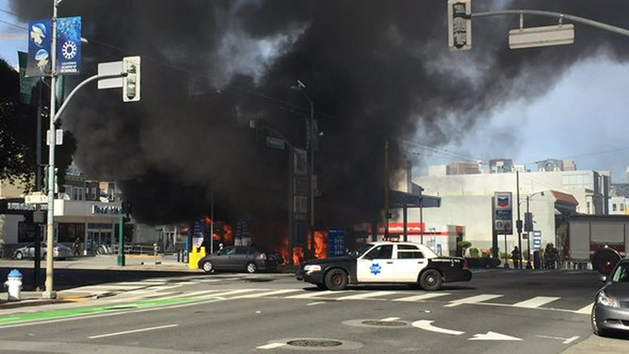 A bus caught fire at a gas station in San Francisco on Monday, February 29, 2016.@JacobShea/Twitter