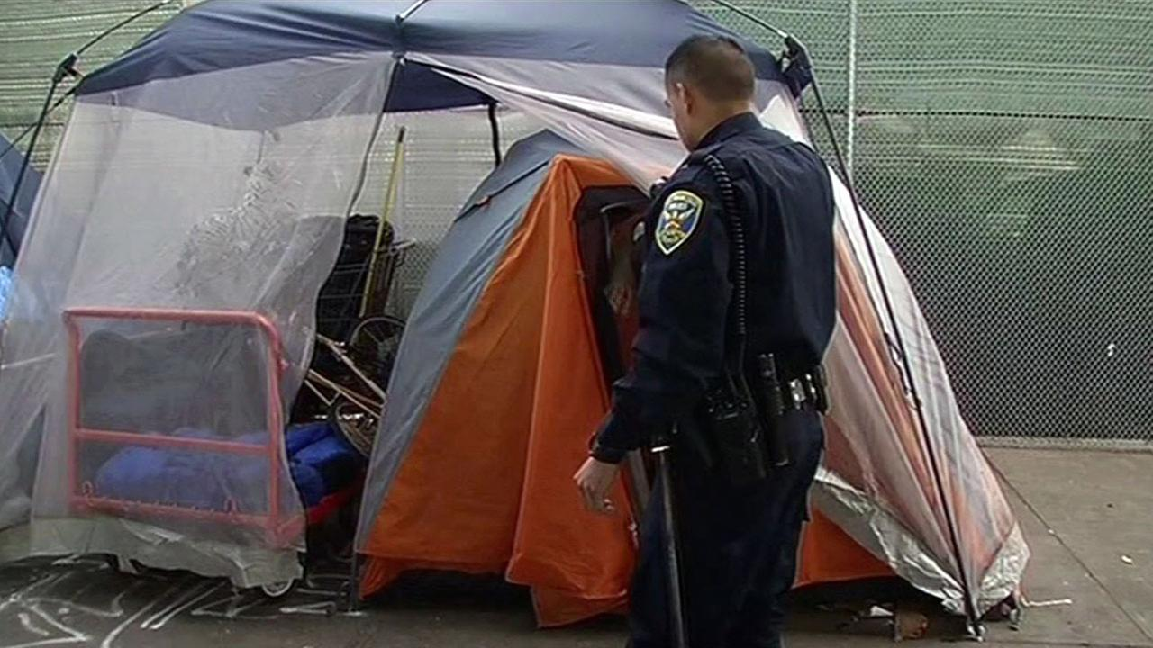 Homeless tent city swept in San Francisco, Tuesday, March 1, 2016.