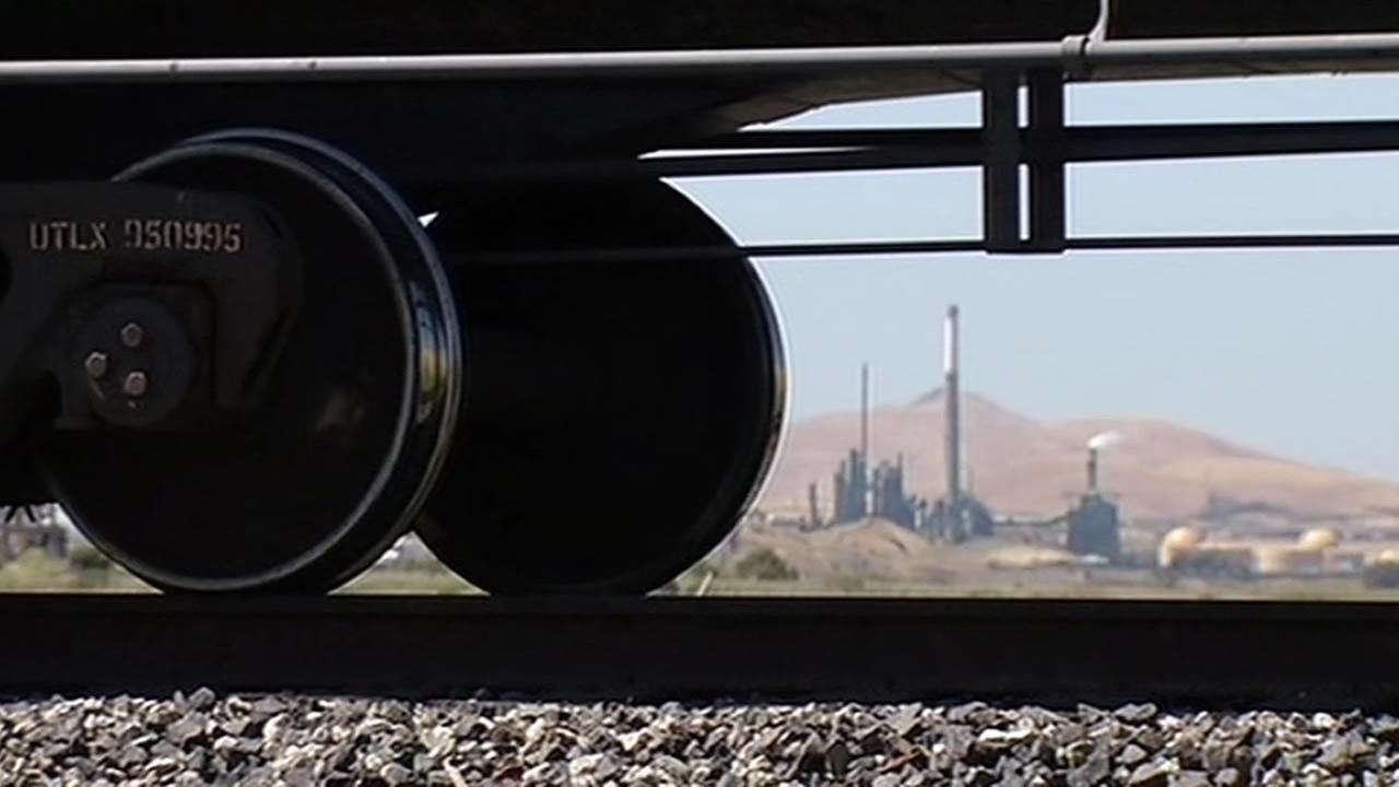 train wheel and oil refinery in the background