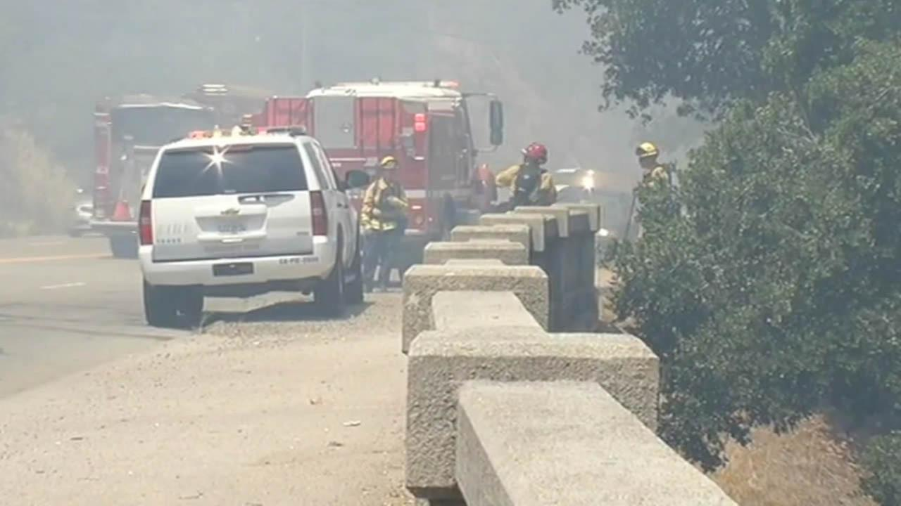 Oakland firefighters at park fire