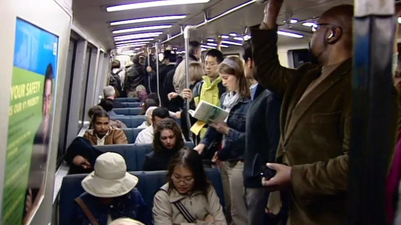 This image shows passengers on a BART train in Oakland, Calif. on March 4, 2016.