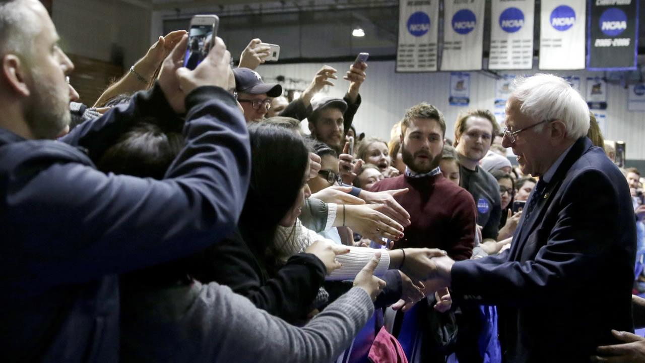 Democratic presidential candidate, Sen. Bernie Sanders, leaves a rally at Grand Valley State University Field House Arena, Friday, March 4, 2016, in Allendale, Mich.