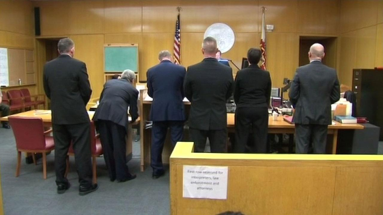 Current and former San Francisco sheriffs deputies accused of running a fight club, involving jail inmates, appeared in court Monday, March 8, 2016.
