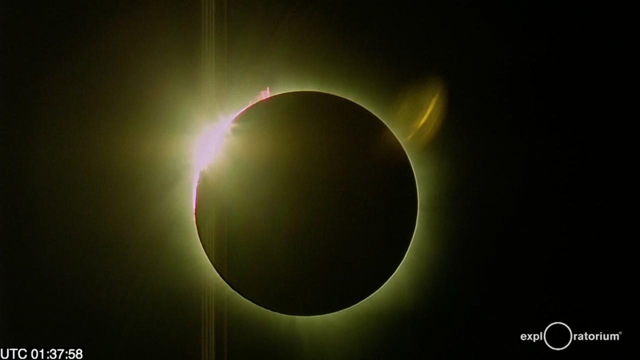 This image from Tuesday, March 6, 2016 shows a rare total solar eclipse from the remote island of Woleai, an atoll in Micronesia.