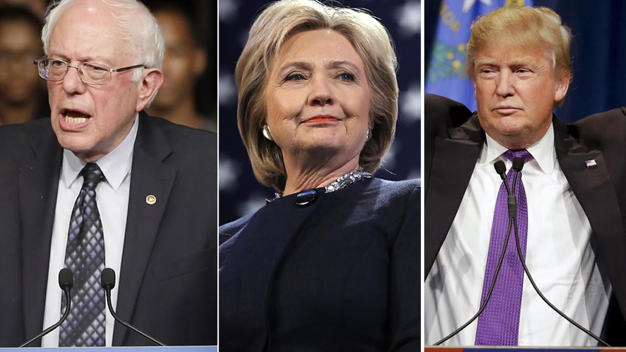 FILE: Senator Bernie Sanders; Sec. of State Hillary Clinton; GOP presdiental front-runner Donald Trump