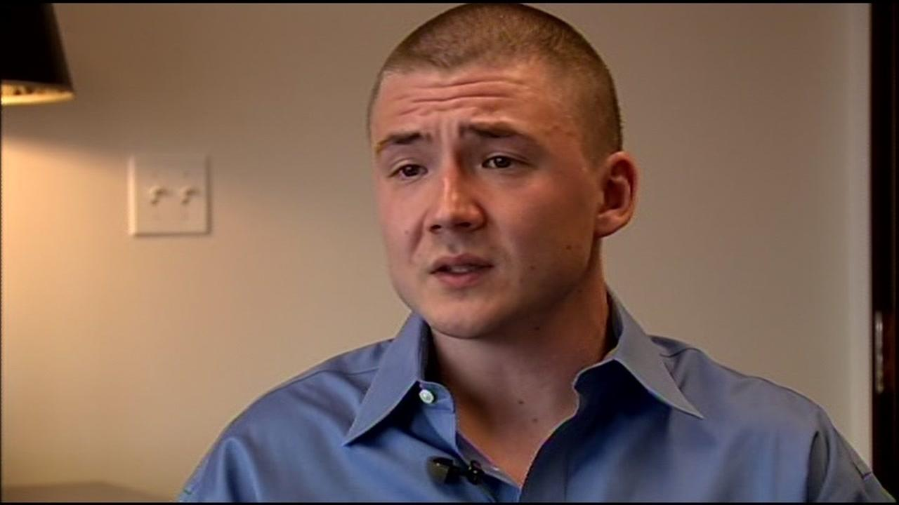 Denis Flynn, 23, talks to ABC7 News in San Jose, Calif. on Wednesday, March 9, 2016 to discuss the civil lawsuit he filed against his adoptive parents.