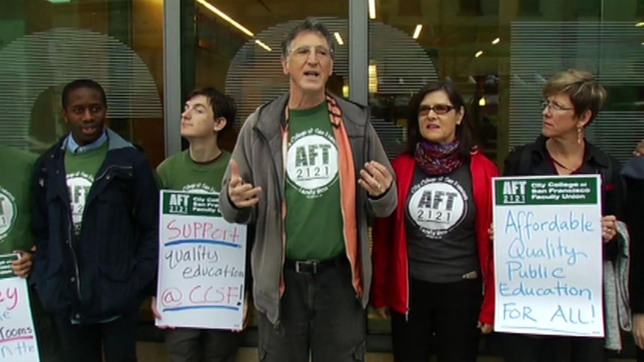Faculty Union President Tim Killikelly speaks about a possible strike at City College of San Francisco on Thursday, March 10, 2016.