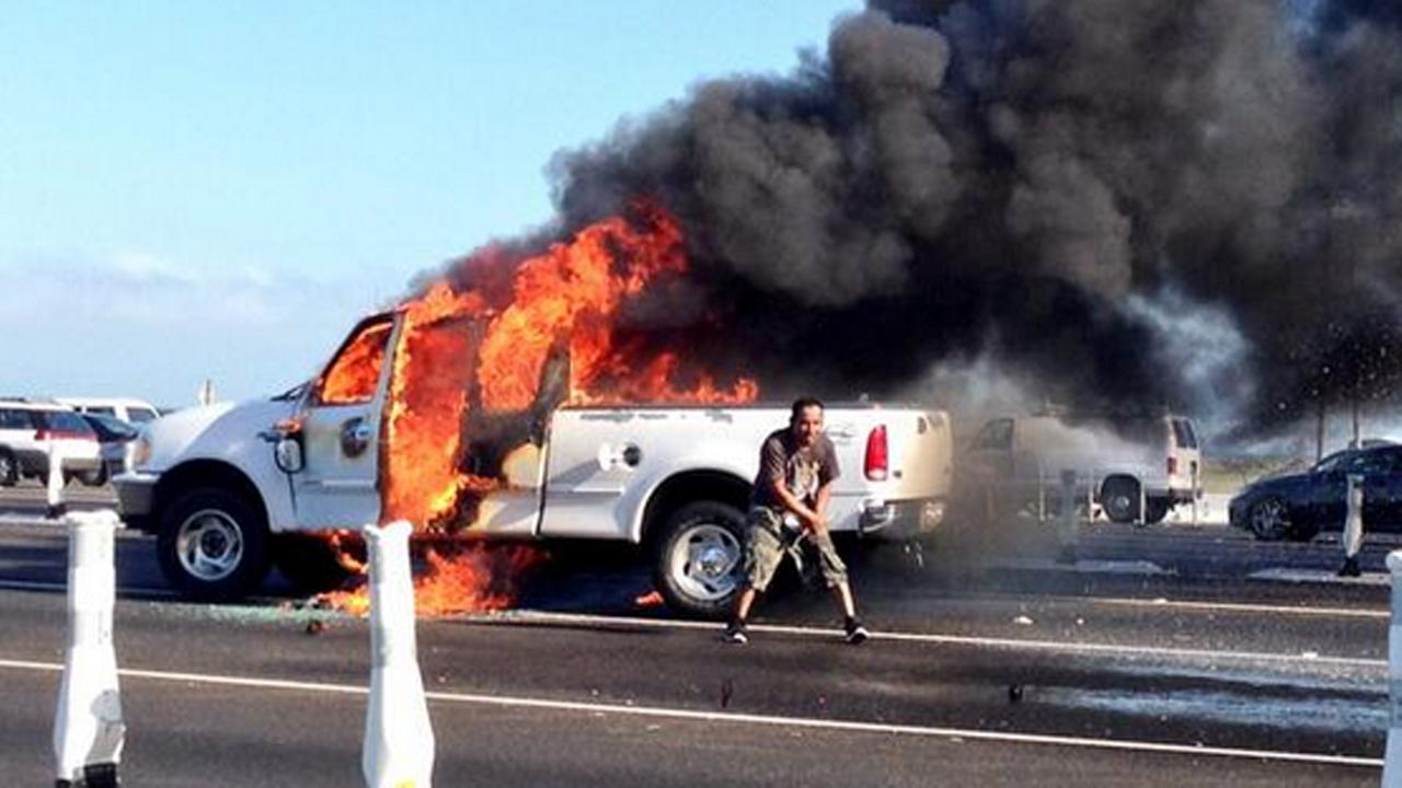 Truck fire on approach to Bay Bridge (Courtesy of Kevin Wilson via Twitter)