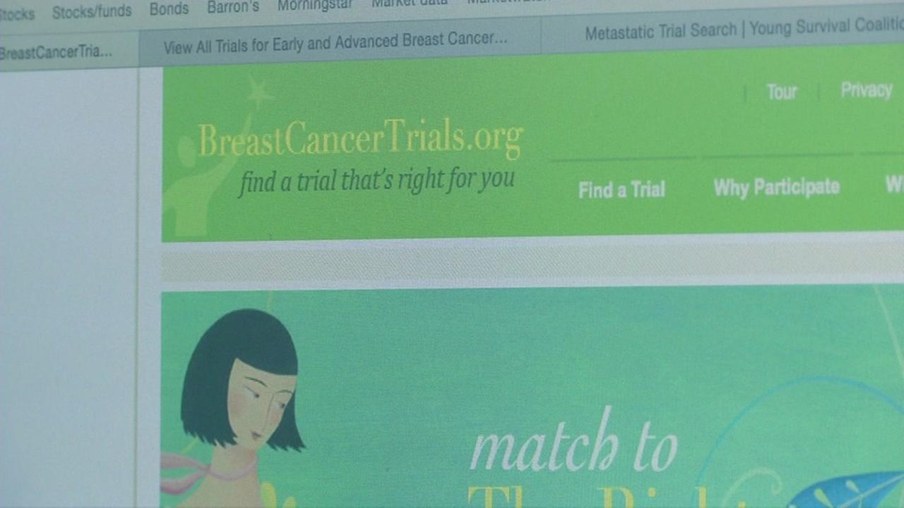 This screenshot shows the website BreastCancerTrials.org.