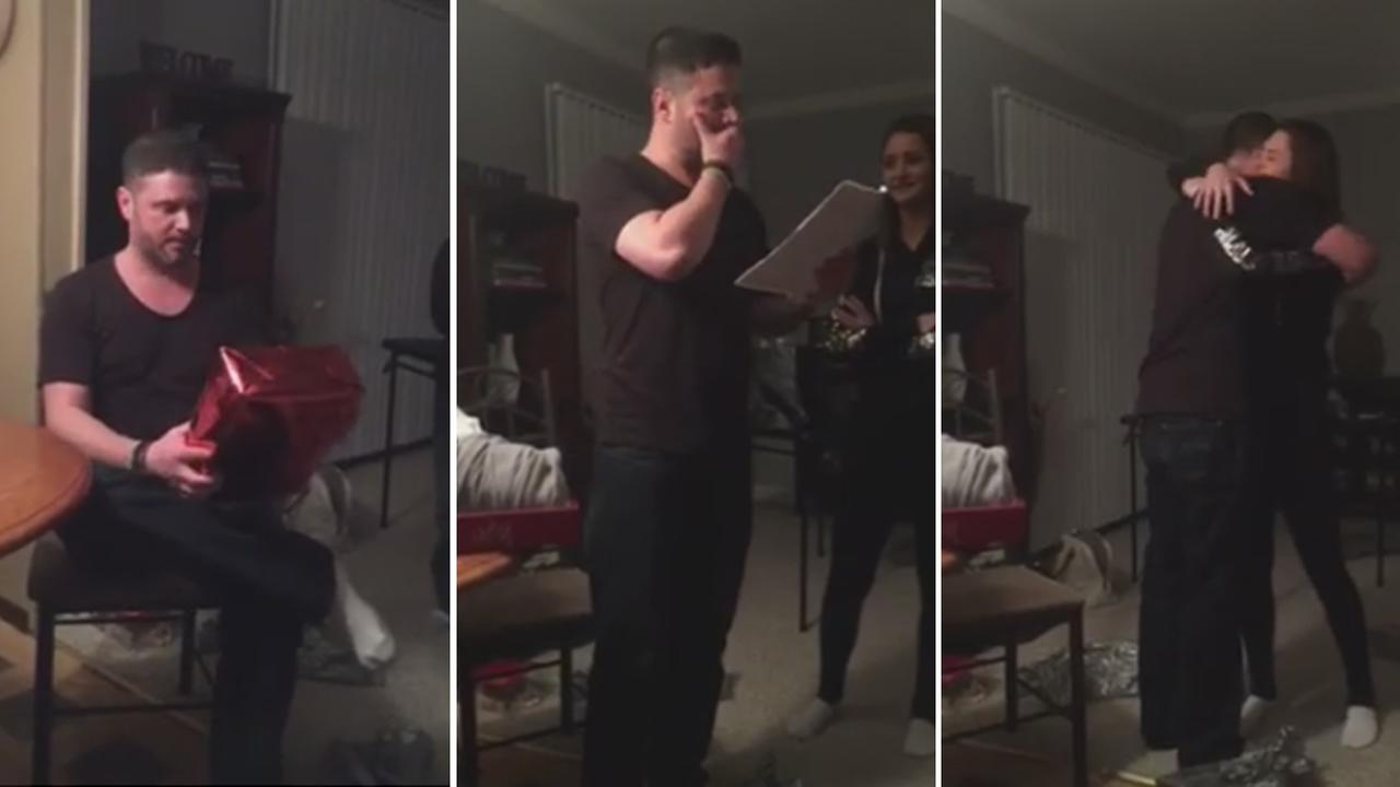 Girl surprises stepdad who raised her with adoption papers