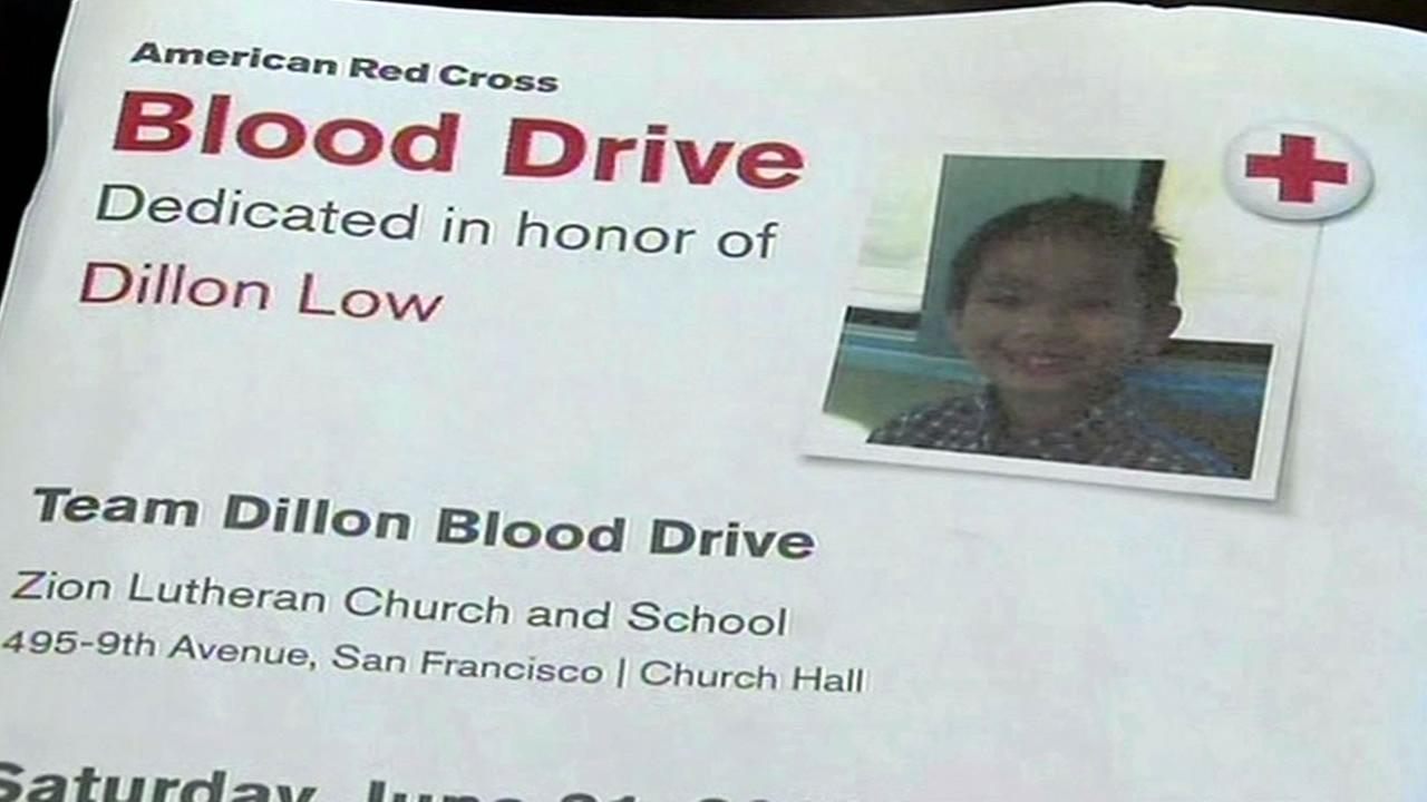 A blood drive is being held in San Francisco in honor of Dillon Low.