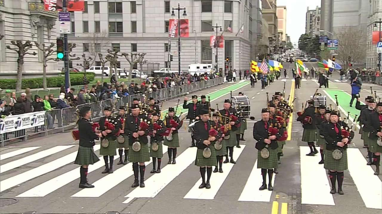 The ceremonial bagpipers at the St. Patricks Day Parade in San Francisco on Saturday, March 12, 2016.