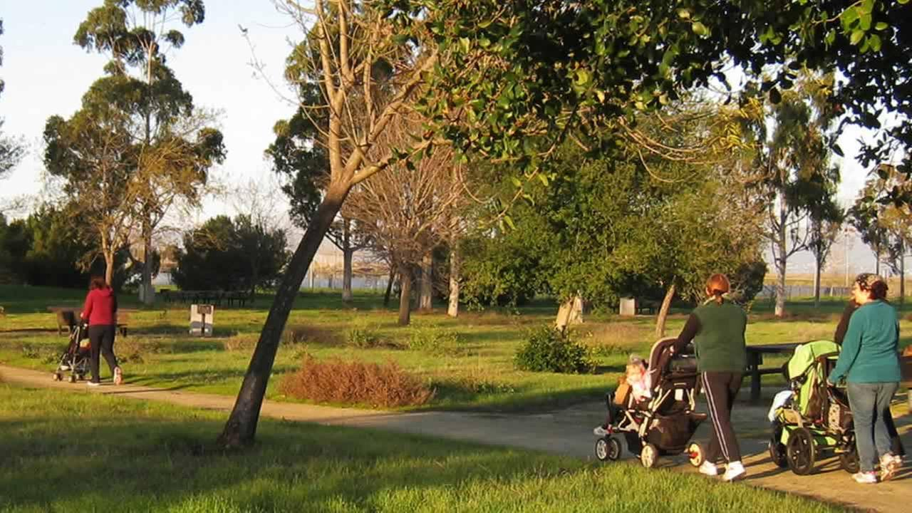 Mothers with their babies and toddlers go for a stroll on the Park Perimeter Loop at Sunnyvale Baylands Park, in Sunnyvale, Calif.