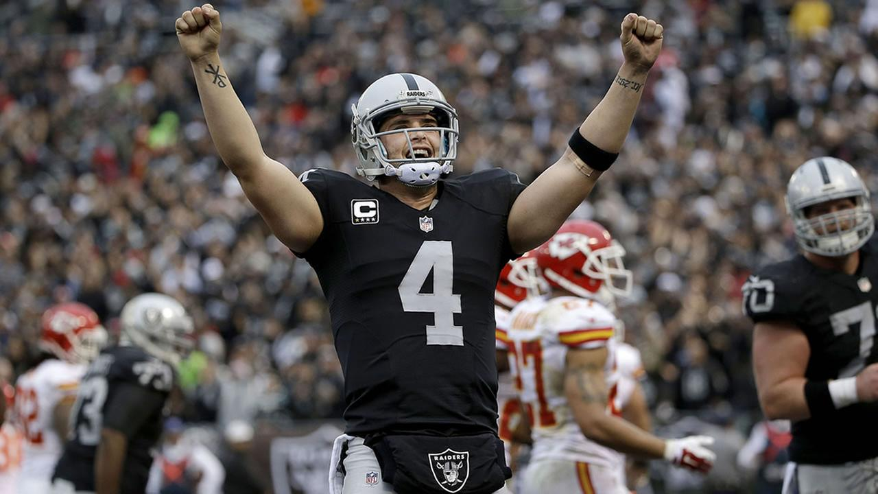 In this Dec. 6, 2015, file photo, Oakland Raiders quarterback Derek Carr celebrates after throwing a touchdown pass during a game against the Kansas City Chiefs in Oakland, Calif. (AP Photo/Marcio Jose Sanchez, File)