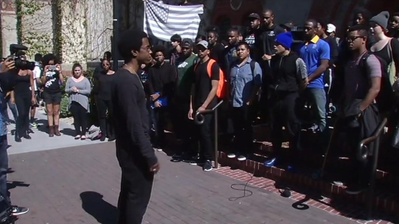 This imaged shows San Jose State University students holding a rally on campus in San Jose, Calif. March 17, 2016 to put and end to racism on campus.