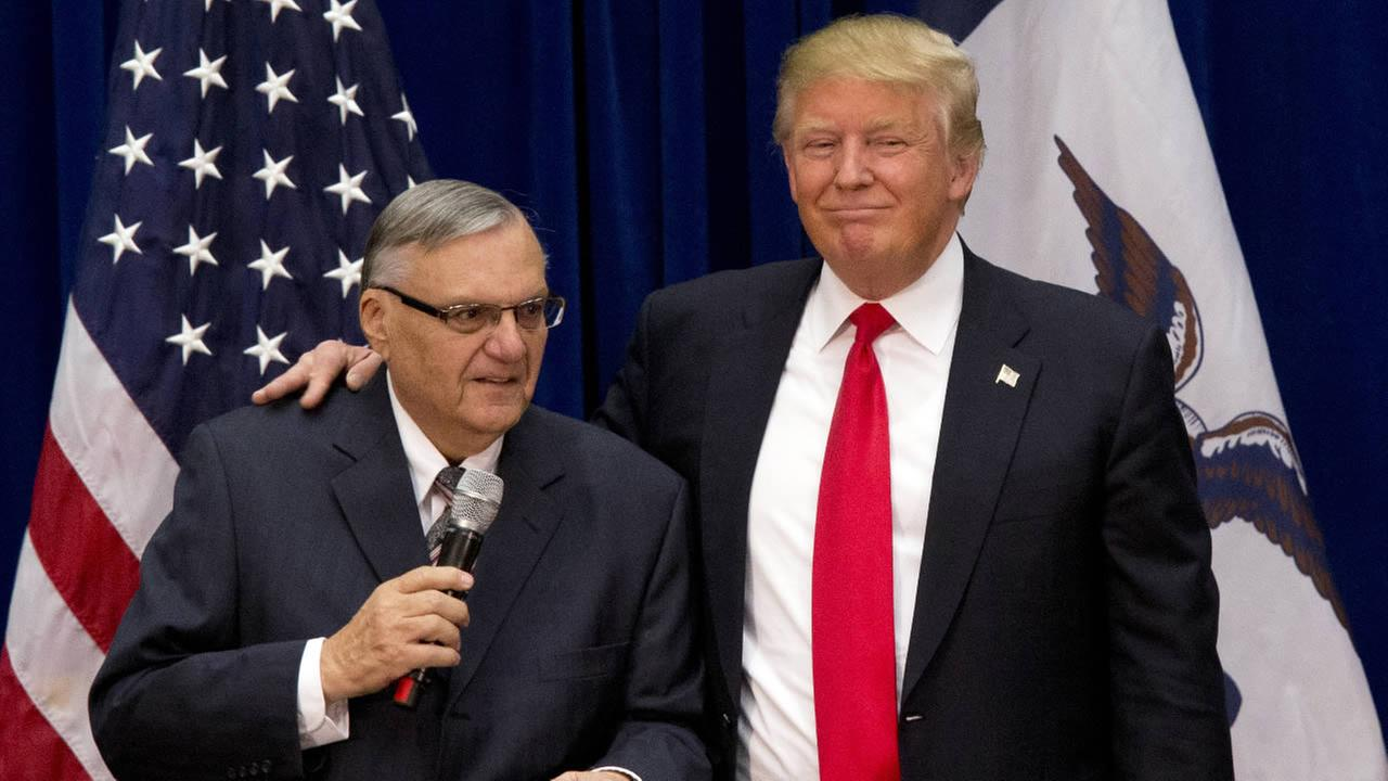 FILE - In this Jan. 26, 2016, photo, Donald Trump is joined by Maricopa County, Ariz., Sheriff Joe Arpaio at a campaign event in Marshalltown, Iowa.
