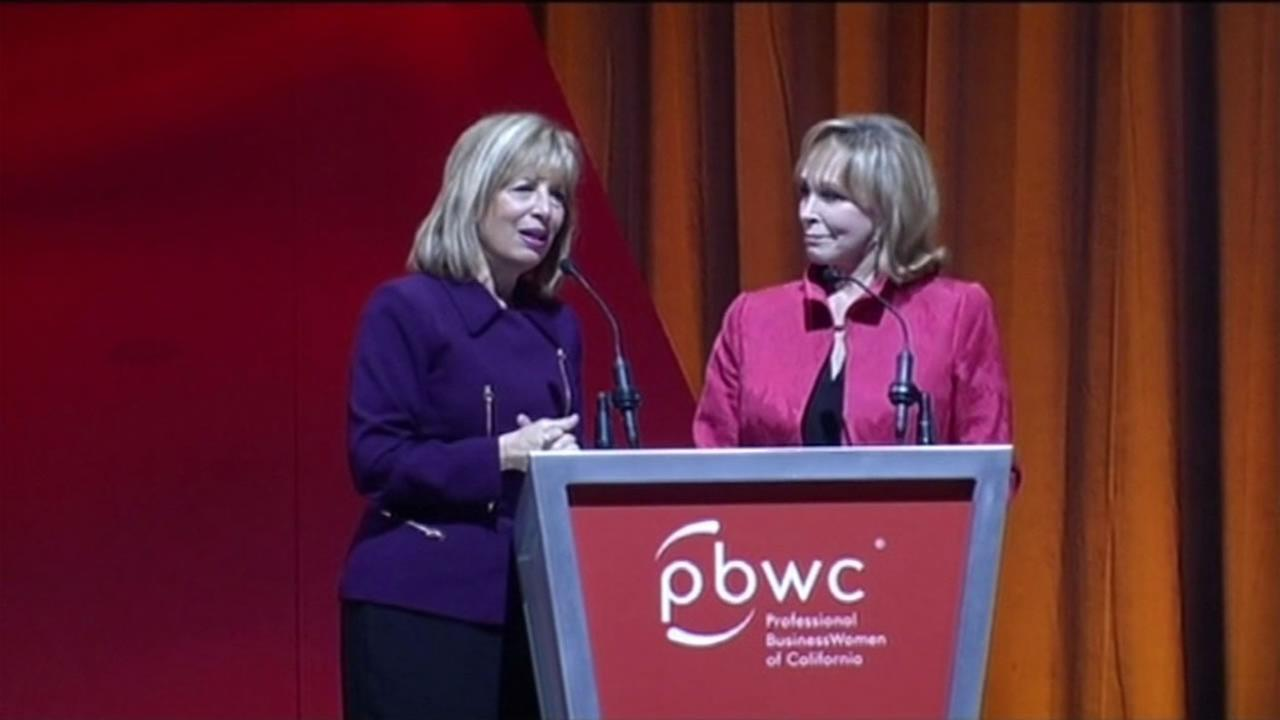 U.S. Congresswoman Jackie Speier stands with Cheryl Jennings at  the Professional Business Women of California Conference in San Francisco on Tuesday, March 22, 2016.